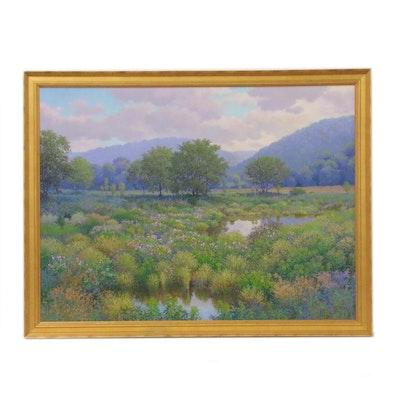 "Jim Salem Acrylic Landscape Painting ""Lowland Morning"""