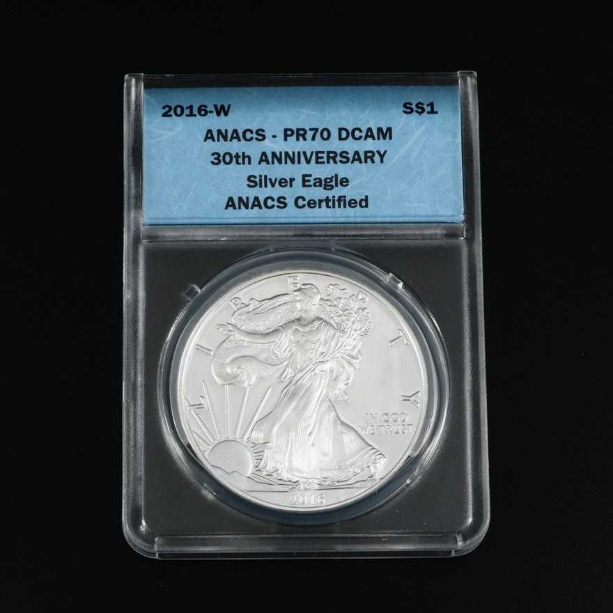 Low Mintage ANACS Graded PR70 DCAM 30th Anniversary 2016-W Proof Silver Eagle