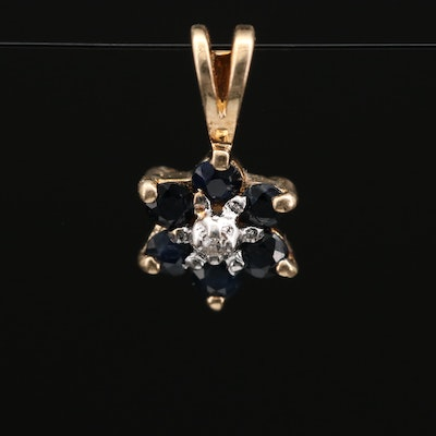 10K Diamond and Sapphire Floral Pendant