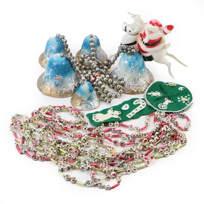 Assorted Christmas Decor with Decorative Garland, Mid to Late 20th Century