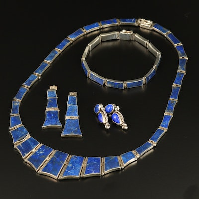 Selection of Sterling Silver Lapis Lazuli Jewelry Including Three Piece Set