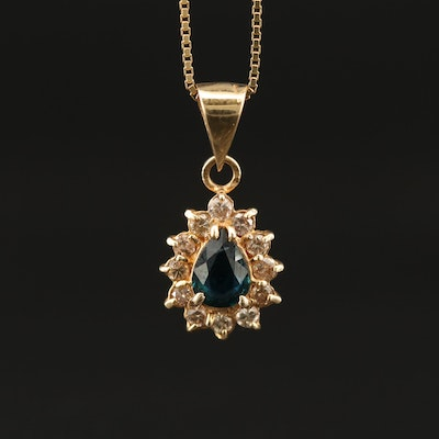 14K Sapphire Pendant Necklace with Diamond Halo
