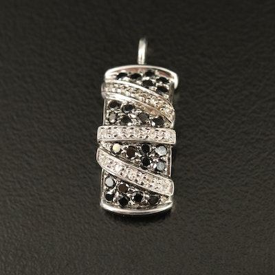 14K Black Diamond and Diamond Rectangular Pendant