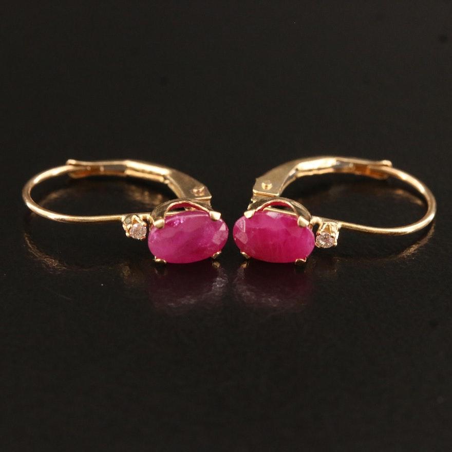 14K Ruby and Diamond Earrings