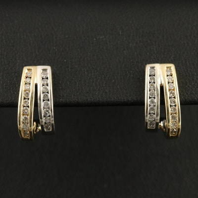 14K Two-Tone Gold Diamond J Hoop Earrings