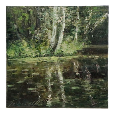 "Garncarek Aleksander Landscape Oil Painting ""Near the Pond"", 2020"