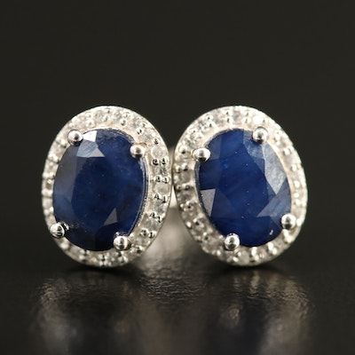 10K Sapphire Oval Stud Earrings