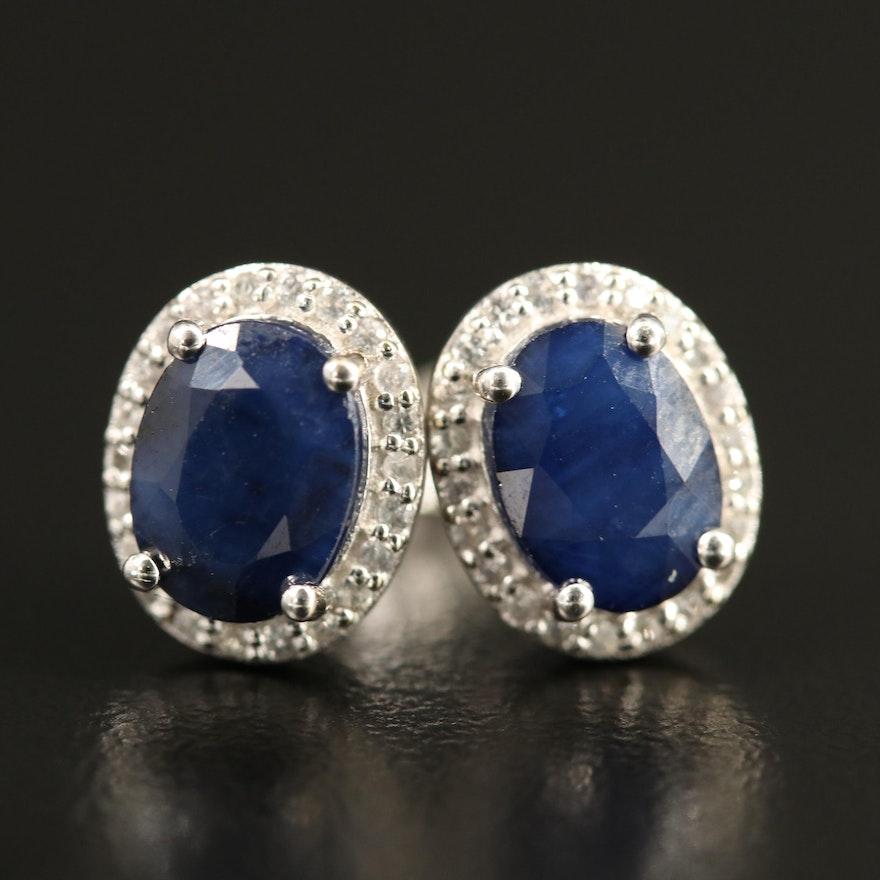 10K Sapphire Oval Stud Earrings