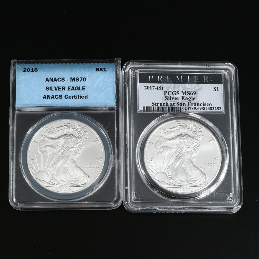 ANACS Graded MS70 2016 and PCGS Graded MS69 2017(S) Silver Eagles