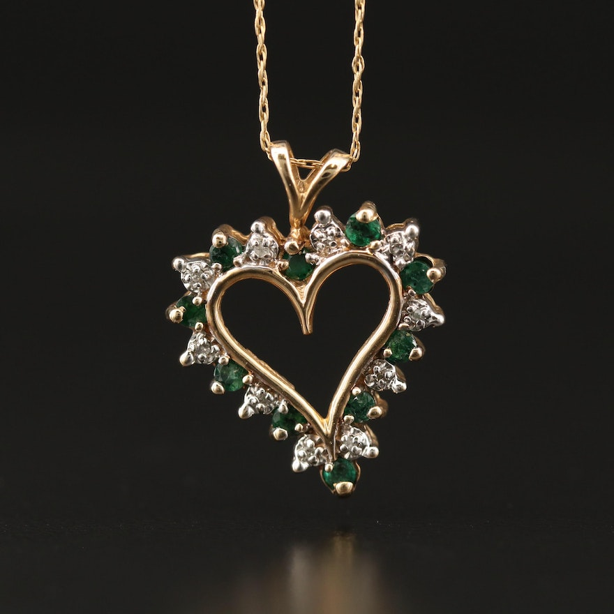 10K Emerald and Diamond Heart Pendant Necklace