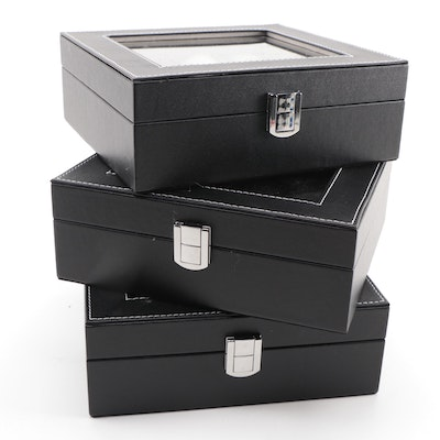 Three Black Leatherette Watch Display Boxes
