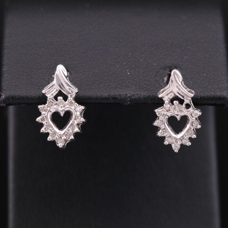 10K Diamond Heart Motif Earrings
