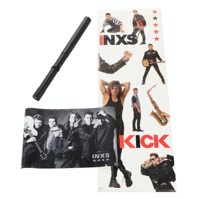 """INXS """"Kick"""" and """"Funky"""" Posters and Poster Tube"""