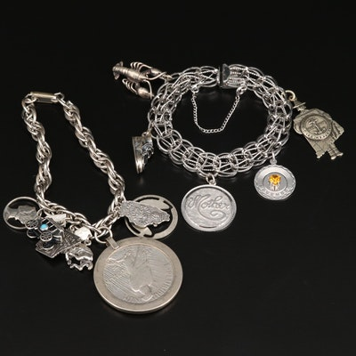Charm Bracelets Featuring Sterling Silver and a 900 Silver 'Peace Dollar'