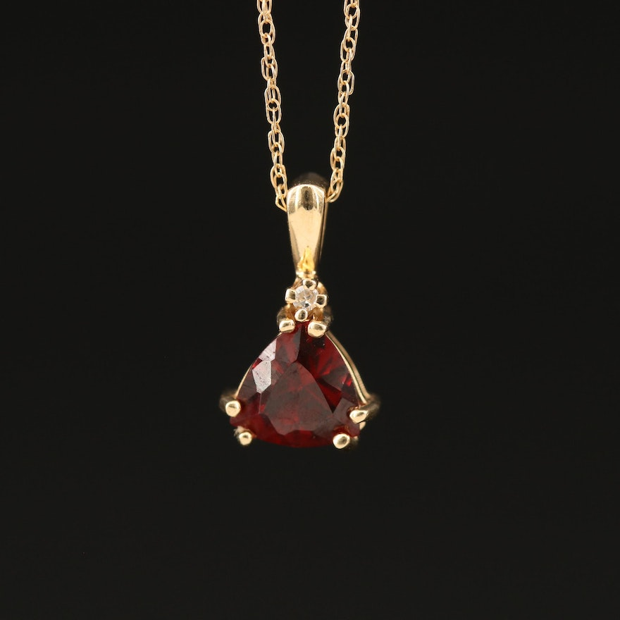 14K Triangular Garnet and Diamond Pendant Necklace