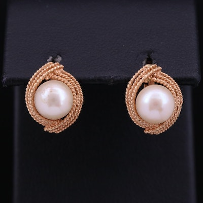 18K Pearl Earrings with Twisted Rope Trim