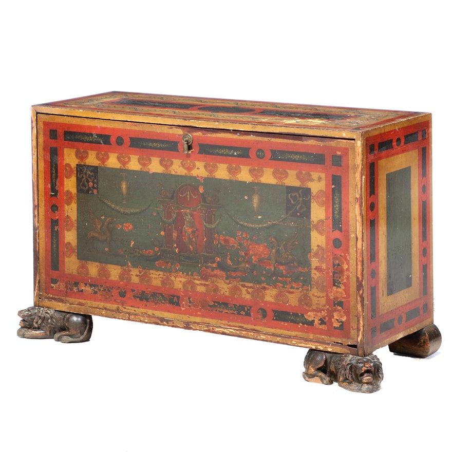 North European Polychrome Decorated Chest, Possibly Swedish