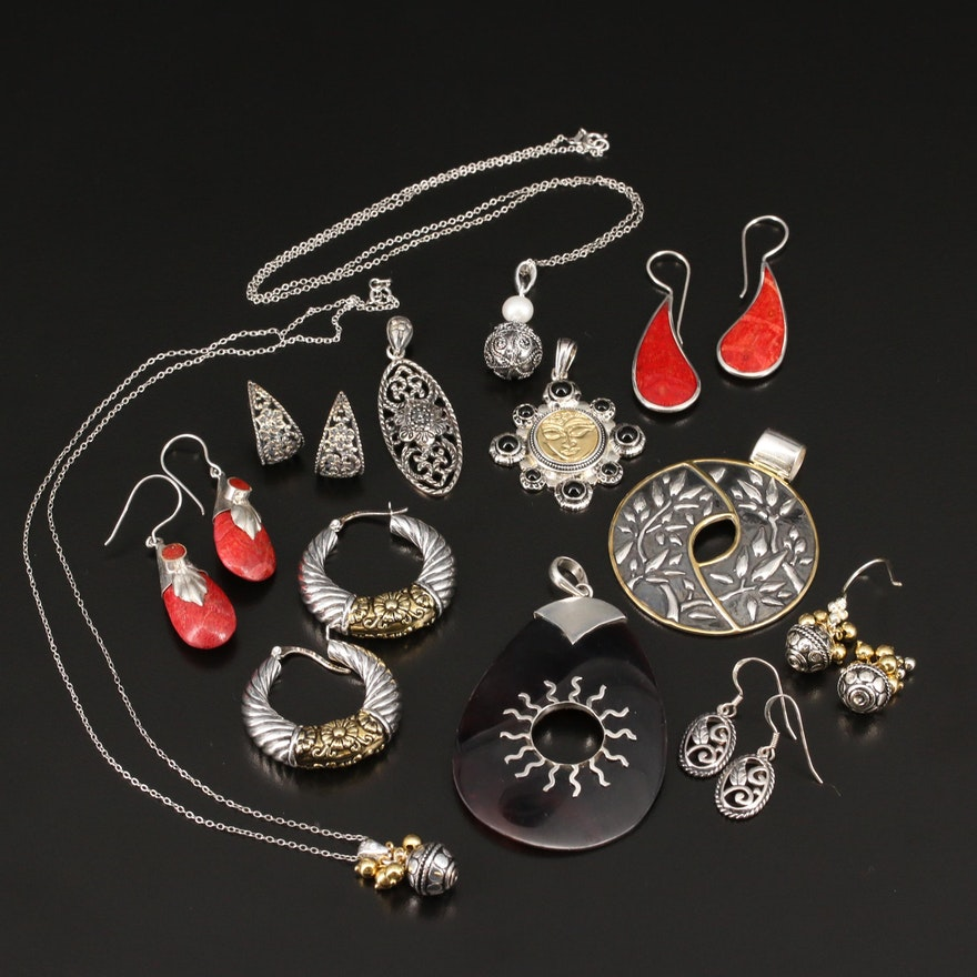 Selection of Sterling Jewelry Featuring Buddha Pendant