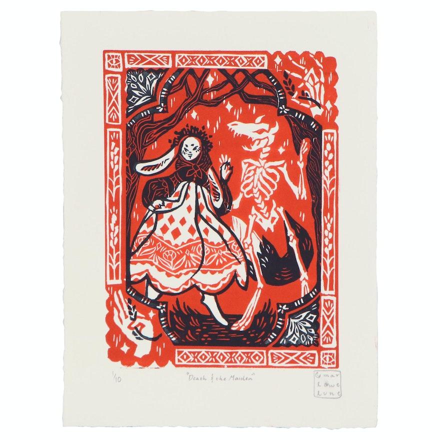 "Marlowe Lune Wesley Linoleum Cut ""Death & the Maiden"", 2020"