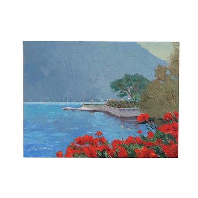 "James Baldoumas Landscape Oil Painting ""Lakeside"", 2020"