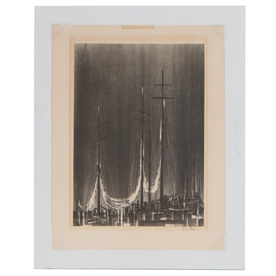 "Richard Florsheim Lithograph ""Rigging"", Mid 20th Century"