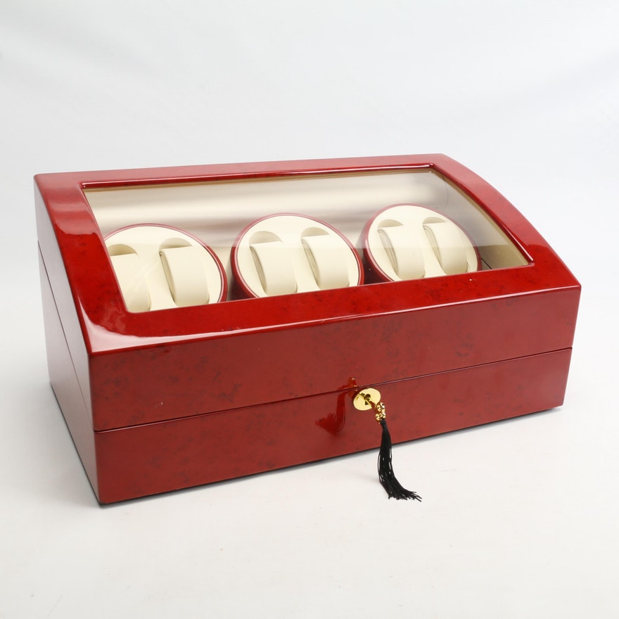 Red Lacquered Watch Display Box