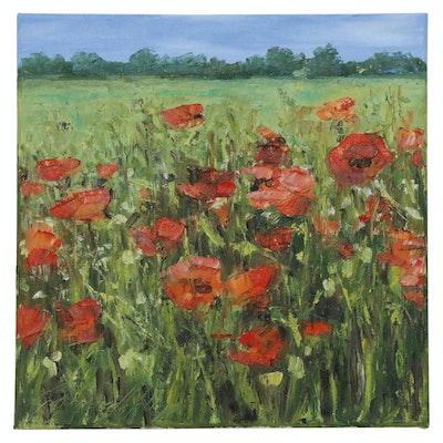 """Garncarek Aleksander Landscape Oil Painting of """"W Polach (In the Fields)"""""""