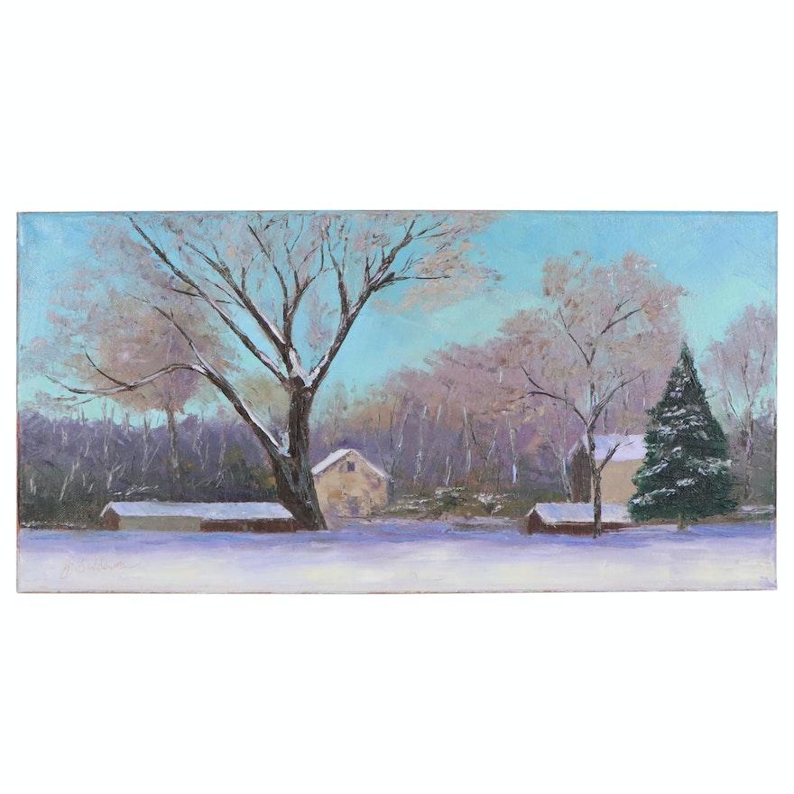 "James Baldoumas Oil Painting ""Barns in Winter"", 2020"