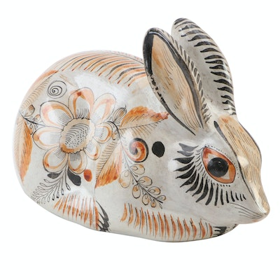 Mexican Tonala Pottery Rabbit Figurine
