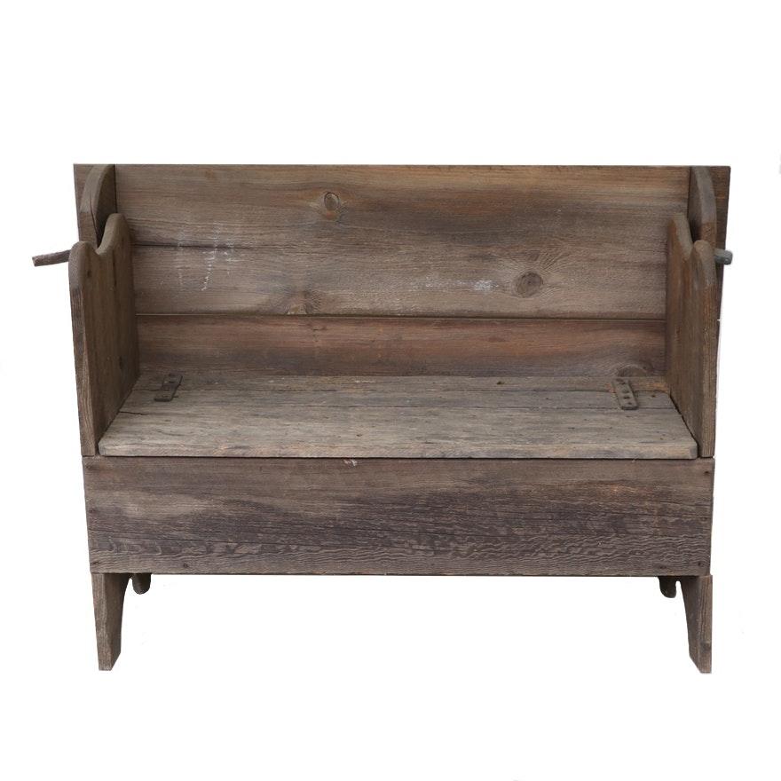 American Primitive Oak Monk's Bench, Antique