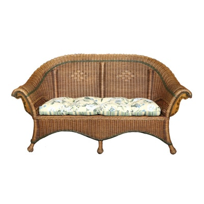 Wicker Roll-Arm Loveseat with Reversible Seat Cushion