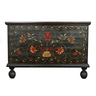 Knob Creek Handcrafted Stenciled Wood Chest, Late 20th Century