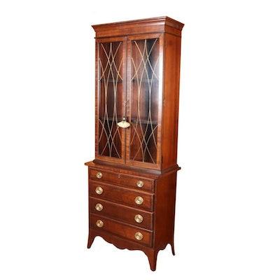 Hepplewhite Style Mahogany Bookcase on Chest, 20th C.