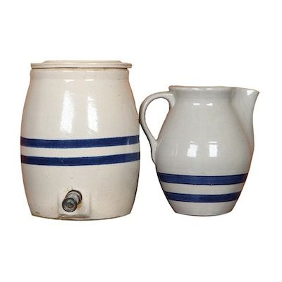 Blue Stripe Earthenware Jug with Spigot and Pitchers, 20th Century