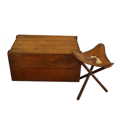 Handcrafted Tooled and Stained Leather Stool with Pine Handcrafted Trunk