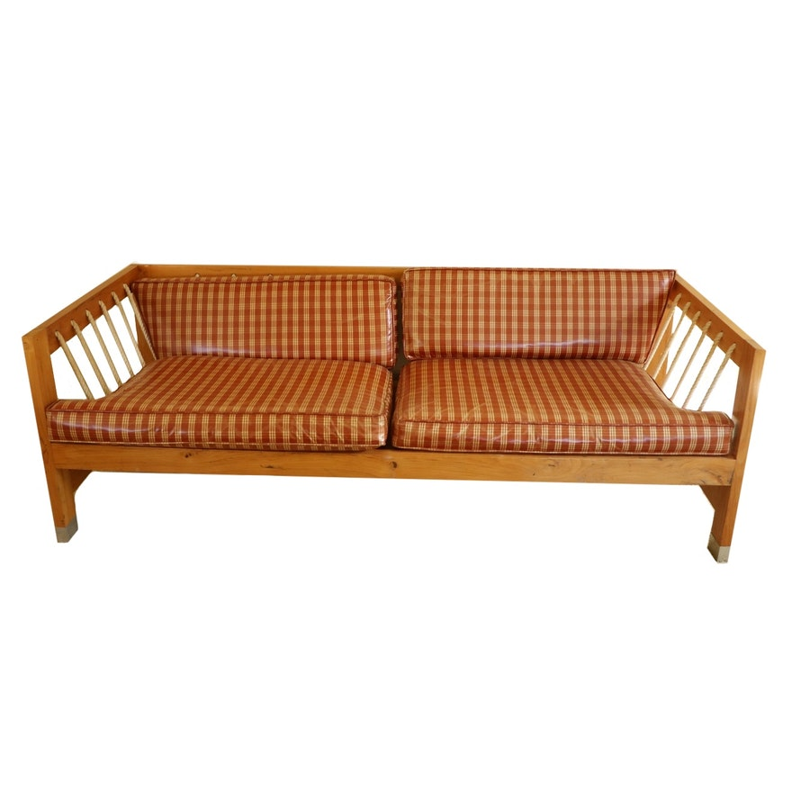 Handcrafted Wood and Rope Sofa with Vinyl Plaid Seats, Late 20th Century