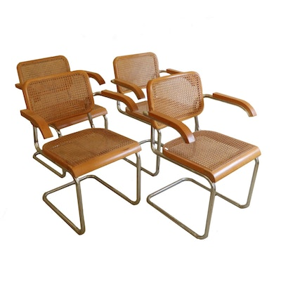 Cesca Style Cane and Wood Armchairs with Chrome Frames, Late 20th Century