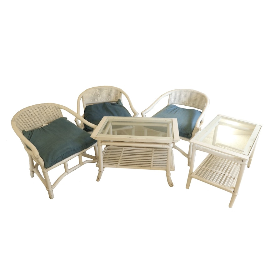 White Bamboo, Wood and Wicker Armchairs and Side Tables, Late 20th Century