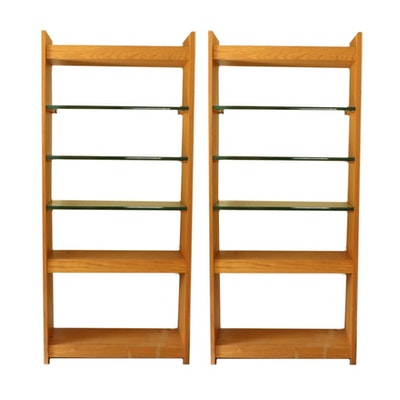 Modernist Oak and Glass Bookcase, Late 20th Century