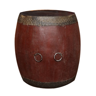 Metal and Wood Barrel End Table