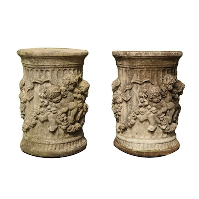 Pairing of Cherub Concrete Column Garden Decor, 20th Century