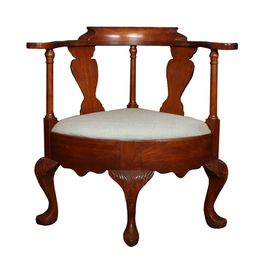 Queen Anne Style Carved Hardwood Corner Chair