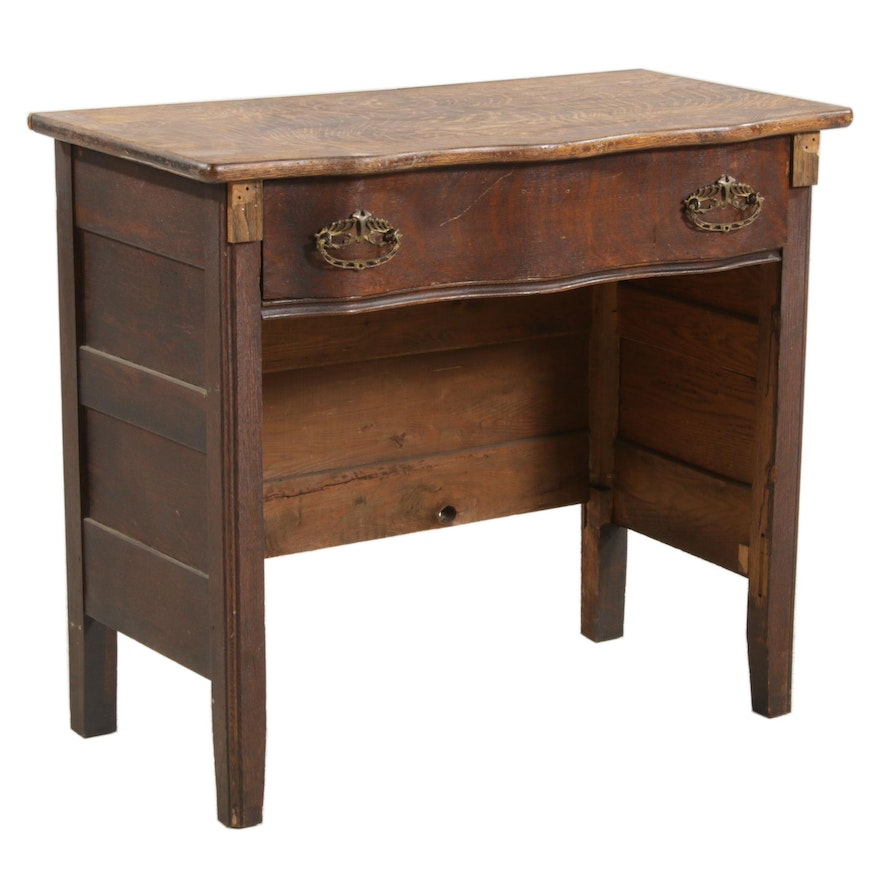 Victorian Oak Commode Converted to a Dressing Table, Early 20th Century