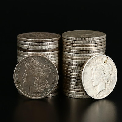 Thirty-Nine Peace and Morgan Silver Dollars