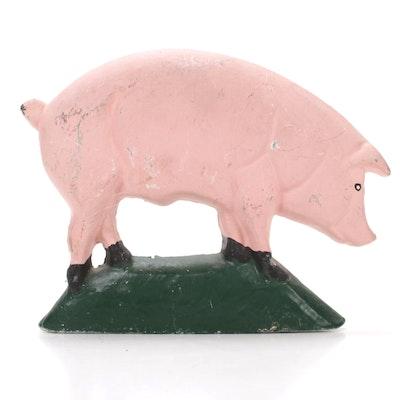 Cast Iron Enameled Americana Pink Pig Doorstop