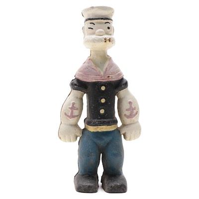 Popeye the Sailor Cast Iron Still Bank, Mid-20th Century