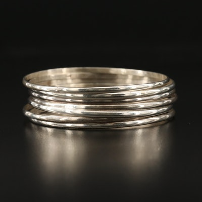 Mexican Semanario Sterling Silver Bangle Bracelets