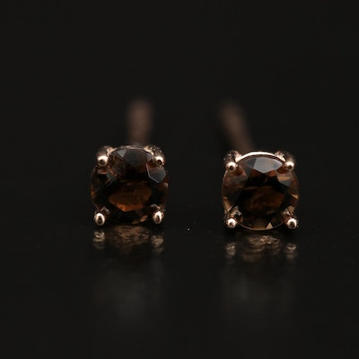 14K Smoky Quartz Stud Earrings