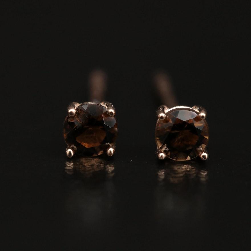 14K Smoky Quartz Stud Earrings