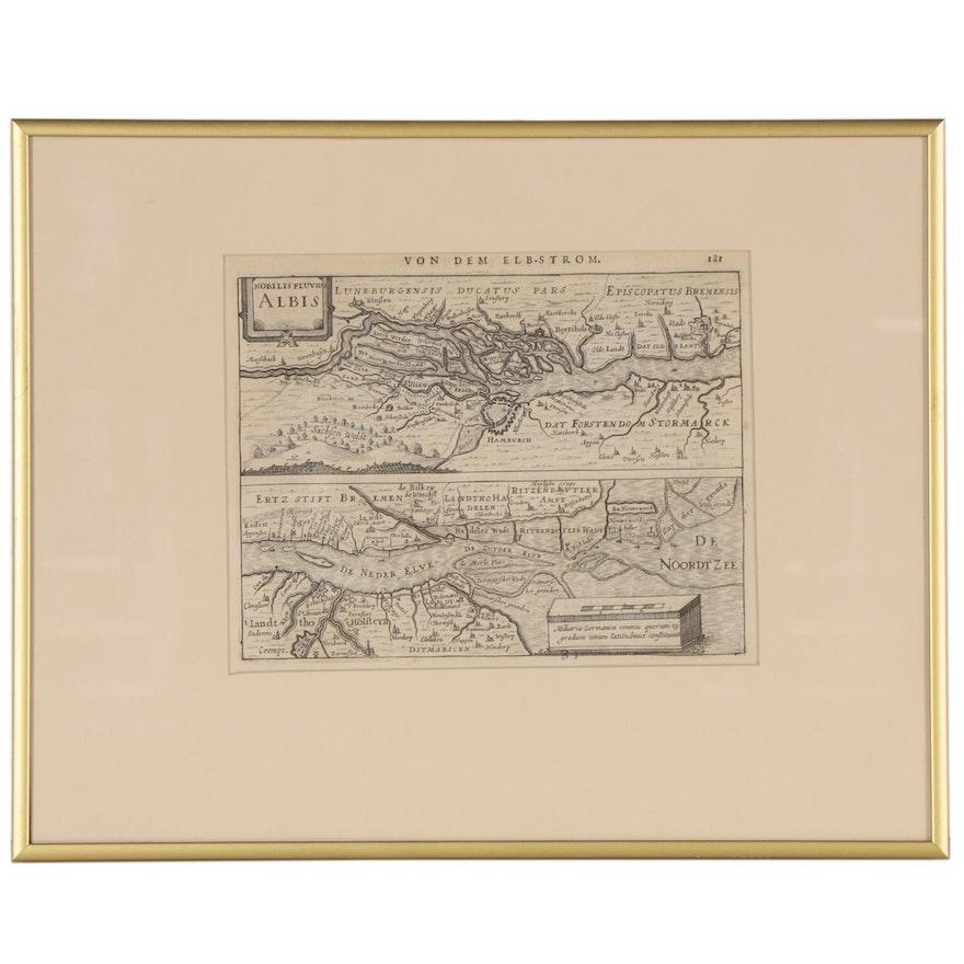 "Elbe River Map from Janssonius' German Edition of Mercator's ""Atlas Minor"", 1651"